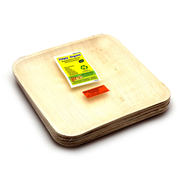 SIMPLY ORGANIC BIODEGRADABLE PRODUCTS - CLASSIC SQUARE PALM, 10 INCH, 10 PCS