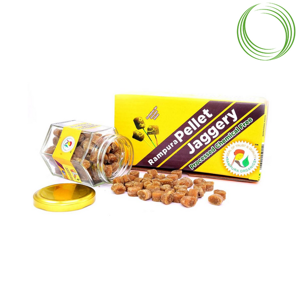 RAMPURA ORGANICS JAGGERY PELLET WITH JAR 400GM
