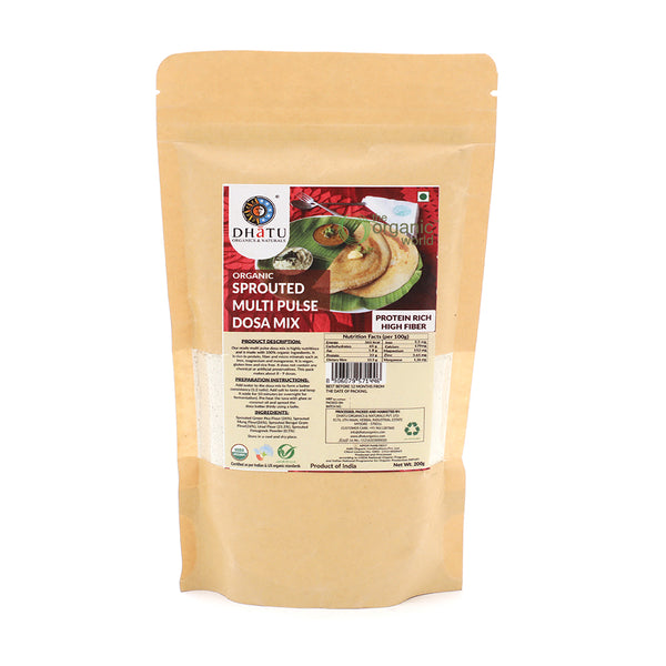 DHATU ORGANICS & NATURALS - SPROUTED PULSE DOSA MIX, 200 GM