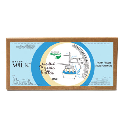 HAPPY MILK - ORGANIC UNSALTED BUTTER, 500 GM