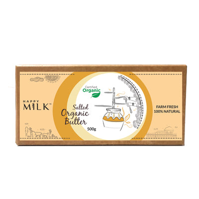HAPPY MILK - ORGANIC SALTED BUTTER, 500 GM