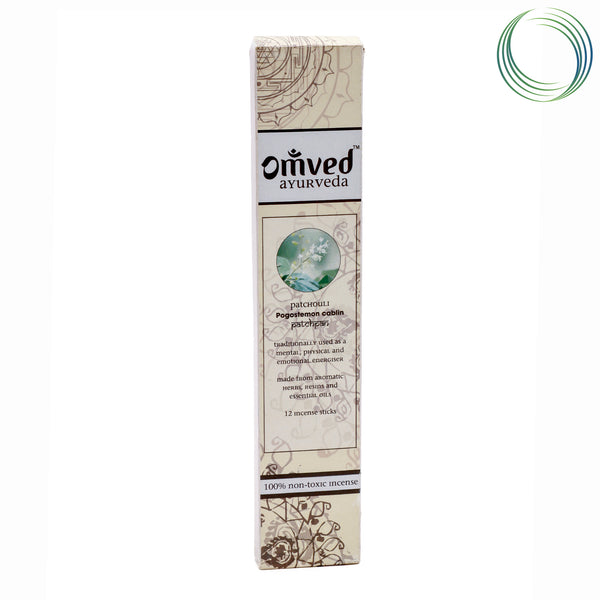 OMVED PATCHOULI AYURVEDIC INCENSE STICKS 12STICKS
