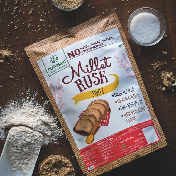 NUTRIBEE - MILLET RUSK - SWEET - 200GM
