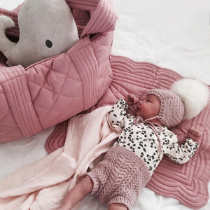 rose pink nappy bag and baby essentials