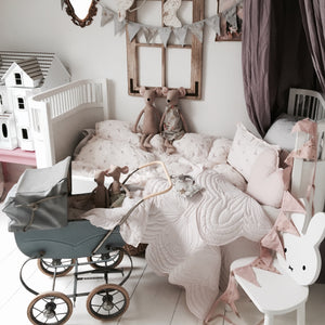 nordic nursery inspo including elephant bonne mere cot set