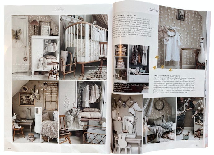 Bonne mere bedding angel wings and clothing featured in chri chri Denmark magazine