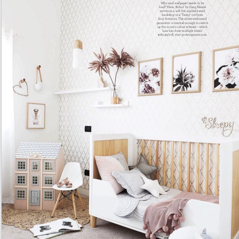 Beautiful article in July 2018 Home Beautiful featuring our Bonne Mere mist cot quilt set