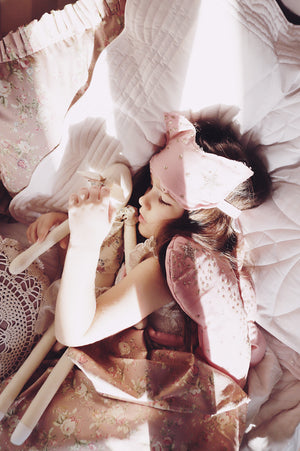 Bonne mere sparkle tulle rose angel wings and eyemask set
