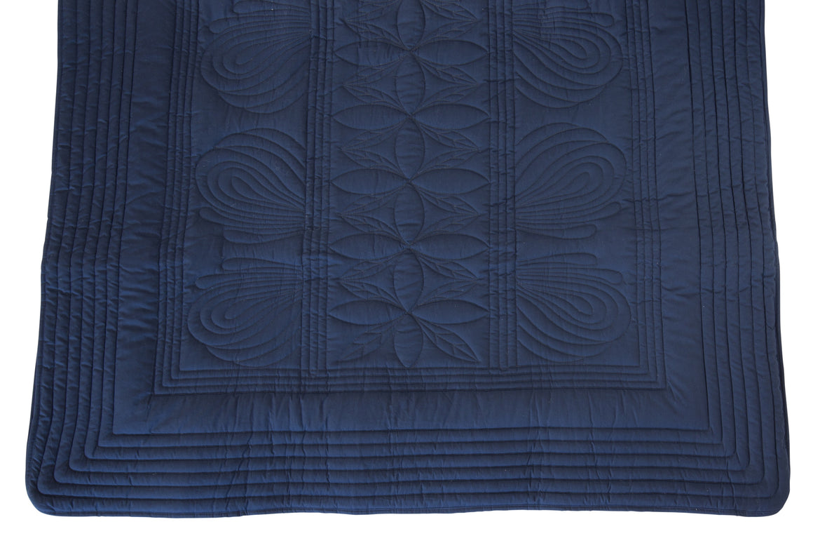 Bonne Mere Single bed quilt and pillow set Navy