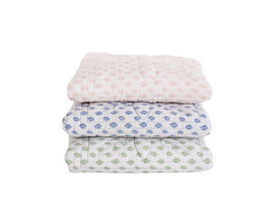 Bonne Mere cot playmat quilt and pillow set in hunter fern print