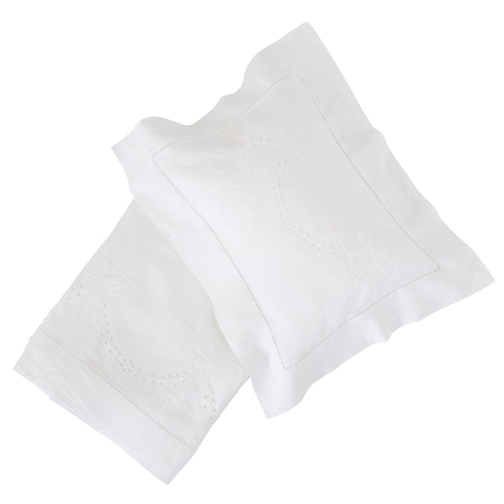 bonne mere white bassinet cotton sheet set with embroidered bow