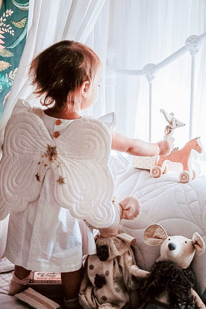 Pretty powder pink fairy wings and eyemask set from Bonne Mere
