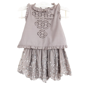 bonne mere sequin hearts grey sparkle sequin skirt for girls