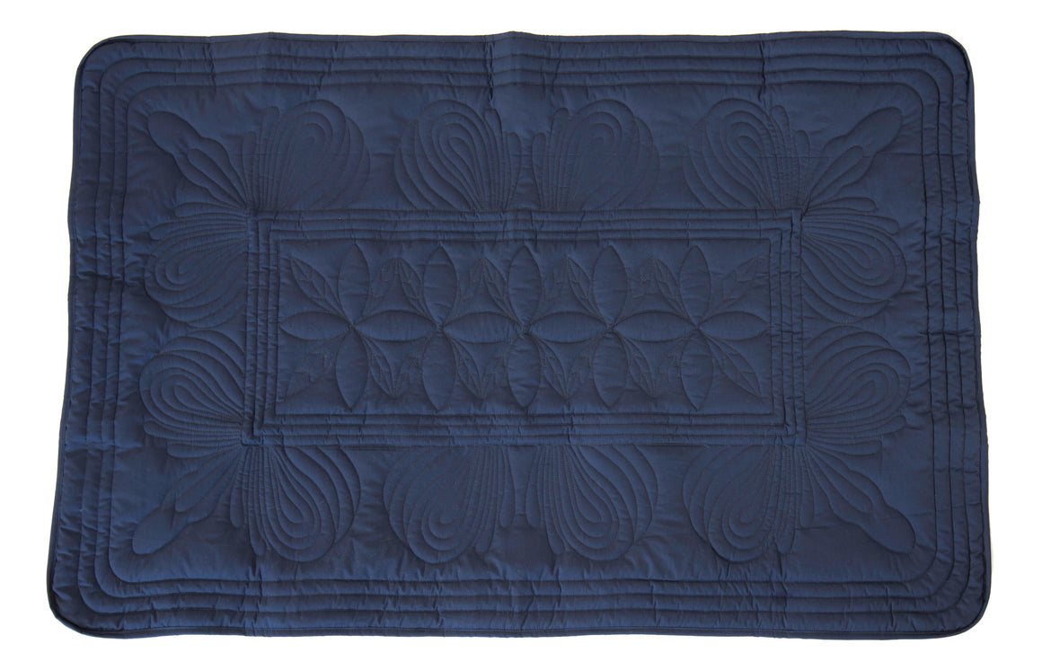 Bonne Mere baby cot quilt and cushion set Navy