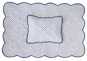 Bonne Mere cot playmat quilt and pillow set in santorini blue fern print