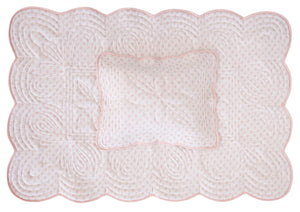 Bonne Mere cot playmat quilt and pillow set in shell pink fern print