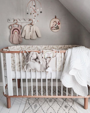 Bonne Mere baby cot quilt and pillow white