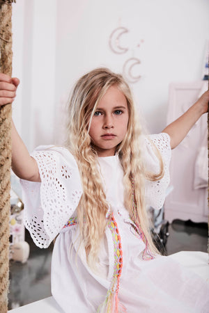 Bonne Mere white cotton embroidered dress for girls