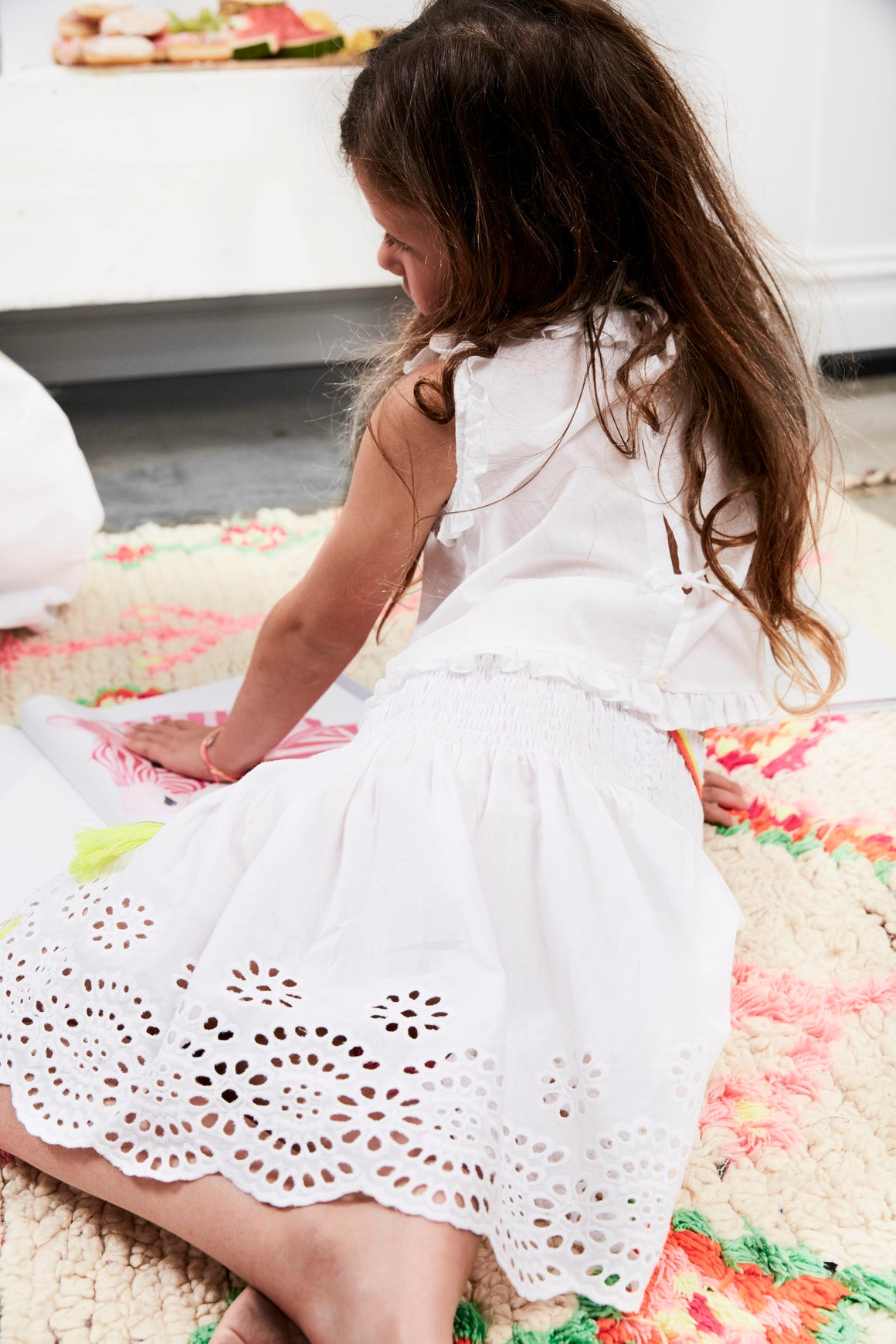 bonne mere embroidered white cotton skirt and top