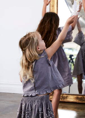 bonne mere embroidered grey cotton top and skirt