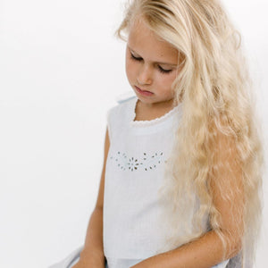 girls pure linen eyelet embroidered nightie dress