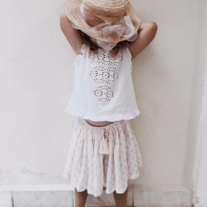 bonne mere embroidered white cotton top and skirt