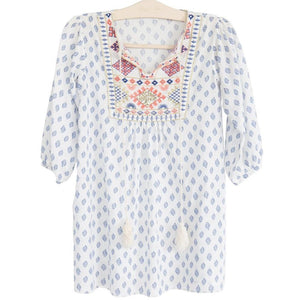 bonne mere moroccan cotton print dress for gilrs santorini blue