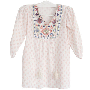 Ladies bonne mere moroccan cotton print dress shell pink