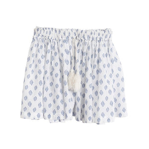 bonne mere moroccan cotton print skirt santorini blue