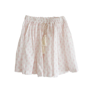 Bonne mere moroccan cotton print skirt shell pink