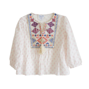 girls bonne mere moroccan cotton print top shell pink