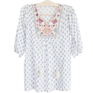 Ladies bonne mere moroccan cotton print dress santorini blue