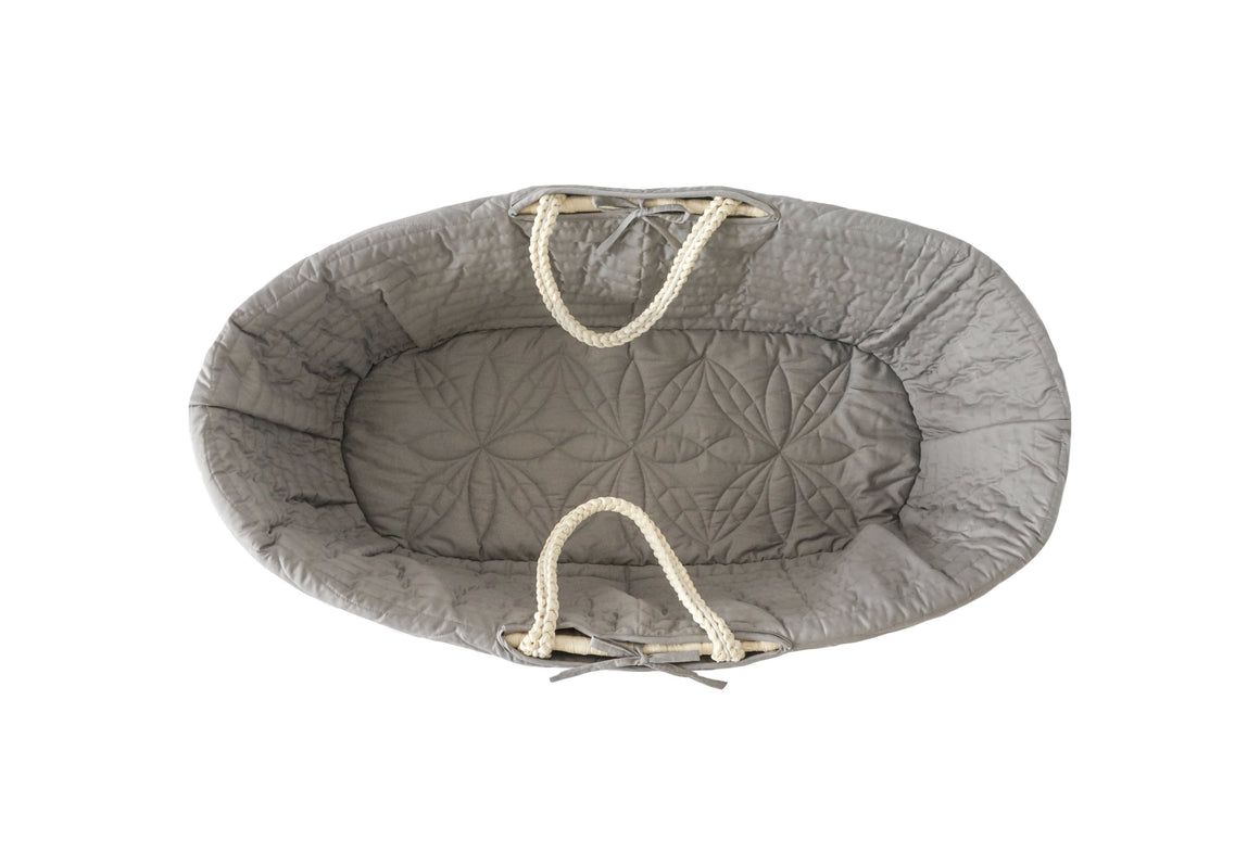 Quilted Moses basket lining in elephant grey from Bonne Mere