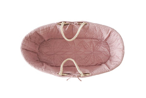 Quilted Moses basket lining in rose pink from Bonne Mere