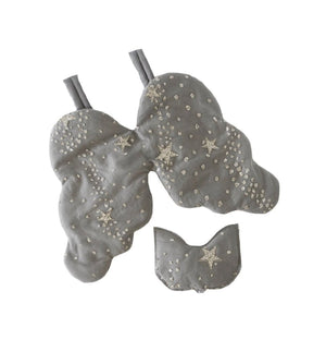 Bonne mere Glitter stars quilted glitter eyemask and fairy angel wing set  elephant grey