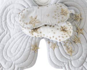 Bonne Mere quilted starry nights eyemask and angel wings dove grey