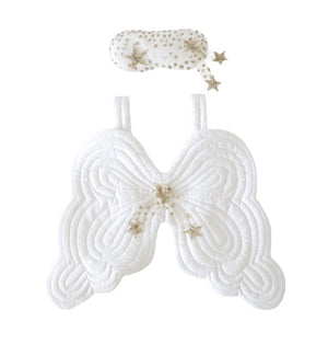 Bonne mere quilted heirloom angel wings and eyemask set in white