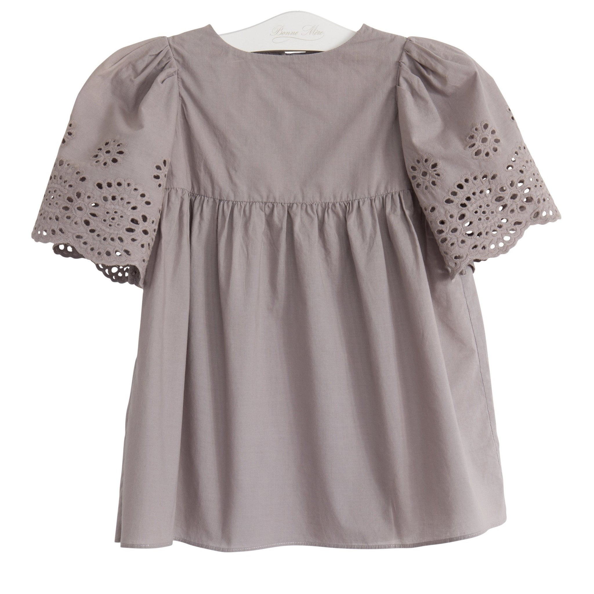 51b79a222b2 Eyelet Daisy Dress- Elephant grey