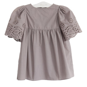 Eyelet Daisy Dress- Elephant grey