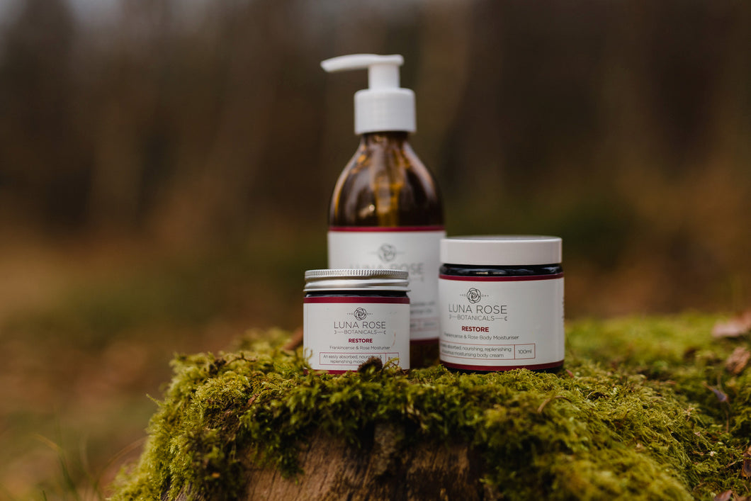 Restore Full Set - Facial Moisturiser, Body Moisturiser, Body Wash & Facial Mask, with Organic Oils.