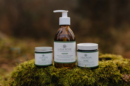 Awaken Full Set - Facial Moisturiser, Body Moisturiser, Body Wash and Facial Mask, Organic Oils.