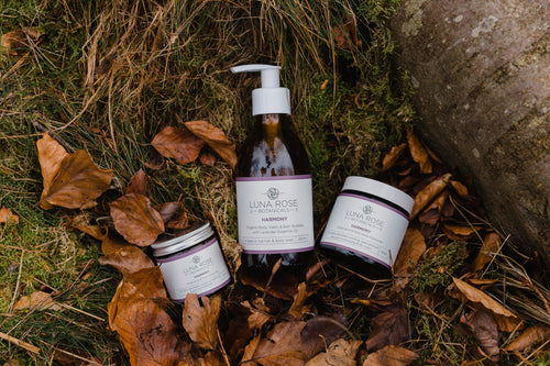 Harmony Full Set - Facial Moisturiser, Body Moisturiser, Body Wash & Facial Mask, with Organic Oils.