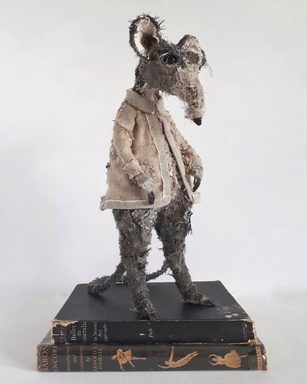 Rat textile sculpture created from vintage and antique textiles