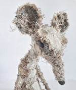 Rat textile sculpture by Susan Bowers created from vintage and antique textiles