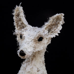 Fox textile sculpture created from vintage and antique textiles