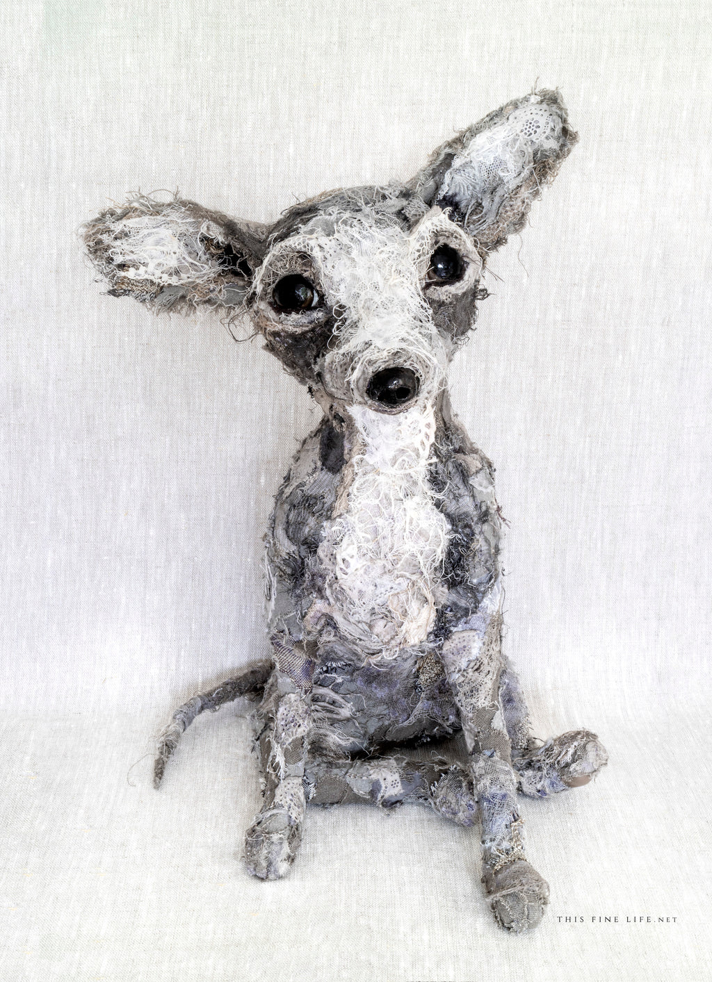 Chihuahua textile sculpture created from vintage and antique textiles