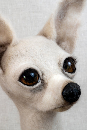 Dot -  Felted Chihuahua Dog Sculpture