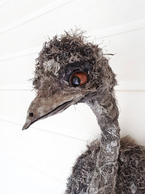 Emu textile sculpture by Susan Bowers created from vintage and antique textiles