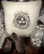 Felted Wool Birds Nest Cushion