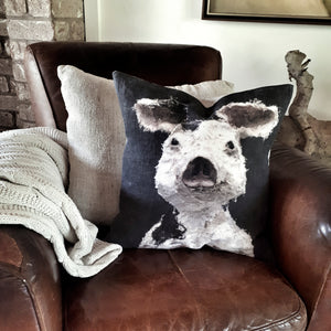 Porteus Pig Linen Cushion - Charcoal - COVER ONLY